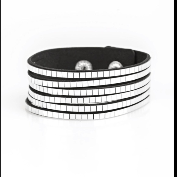 Black Bracelet with silver cubes and snap closure